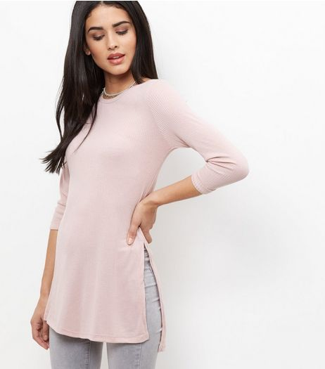 Shell Pink Ribbed Step Hem 3/4 Sleeve Top  | New Look