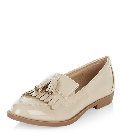 Cream Patent Tassel Front Loafers  | New Look