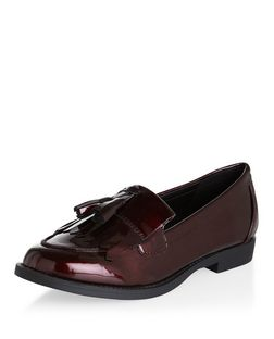 Dark Red Patent Tassel Front Loafers | New Look