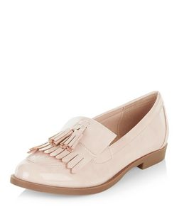 Pink Patent Tassel Front Loafers  | New Look