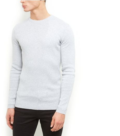 Grey Ribbed Crew Neck Jumper  | New Look