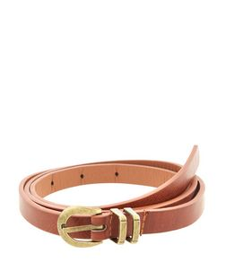 Plus Size Tan Double Loop Belt  | New Look