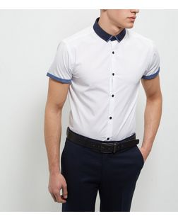 White Contrast Trim Short Sleeve Shirt  | New Look