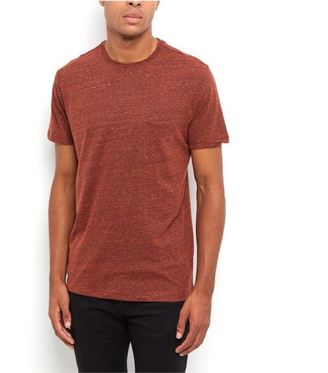 Orange Space Dye Pocket Front Crew Neck T-Shirt | New Look