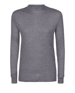 Grey Ribbed Funnel Neck Long Sleeve Top  | New Look