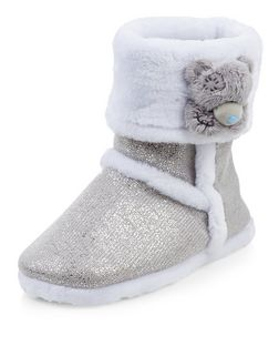 Me To You Grey Glitter Slipper Boots  | New Look