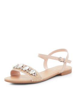 Wide Fit Stone Gem Ankle Strap Sandals  | New Look