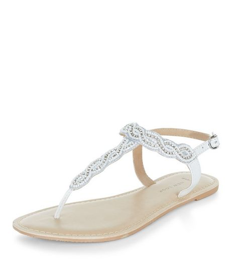 Wide Fit White Embellished Sandals  | New Look