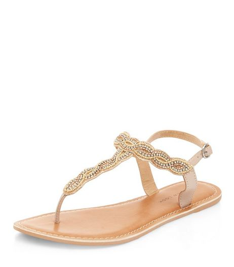 Wide Fit Stone Embellished Sandals  | New Look