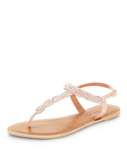 Wide Fit Pink Embellished Sandals  | New Look