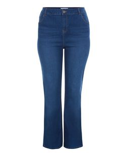 Plus Size Blue Bootcut Jeans  | New Look