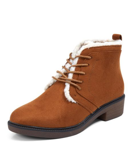 Teens Tan Suedette Shearling Lined Boots | New Look