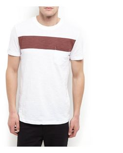 White and Brown Panel T-Shirt  | New Look