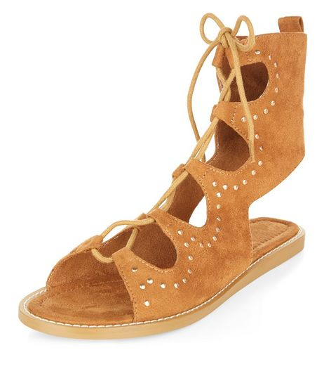 Tan Studded Trim Lace Up Sandals | New Look