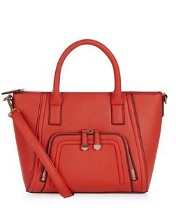 Red Zip Pocket Structured Bag | New Look
