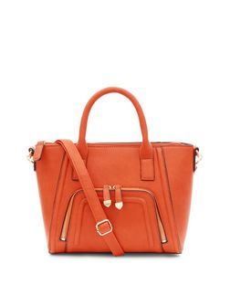 Orange Zip Pocket Structured Bag | New Look