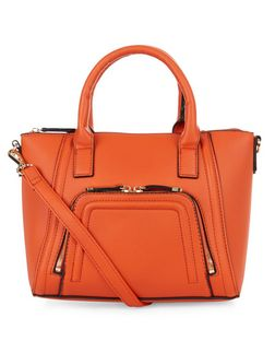 Bright Orange Zip Pocket Structured Bag | New Look