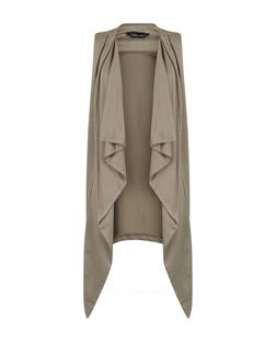 Khaki Waterfall Open Front Sleeveless Jacket | New Look