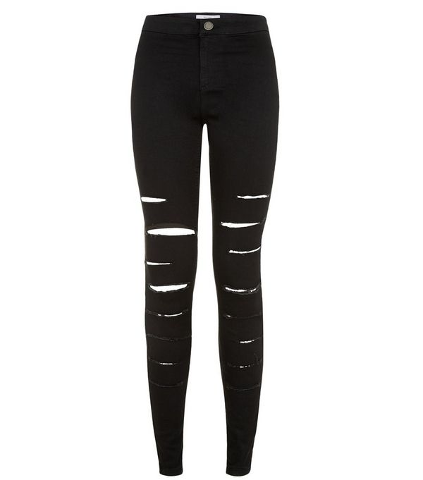 Black Extreme Ripped High Waisted Super Skinny Jeans