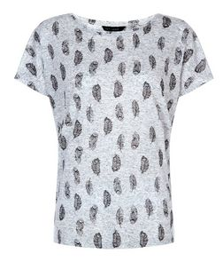 Grey Feather Print T-Shirt  | New Look