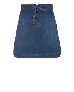 Petite Blue Lace Up Denim Mini Skirt | New Look