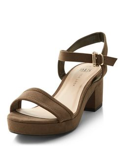 Teens Khaki Platform Sandals  | New Look