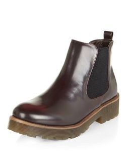 Teens Burgundy Patent Chelsea Boots  | New Look