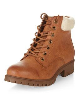 Tan Shearling Trim Lace Up Boots  | New Look
