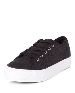 Grey Felt Lace Up Flatform Plimsolls  | New Look