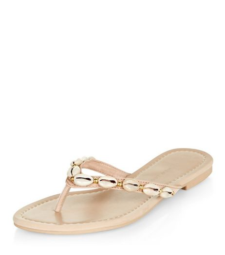 Wide Fit Stone Shell Embellished Sandals  | New Look