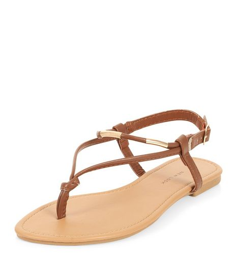 Wide Fit Tan Metal Knot Sandals  | New Look