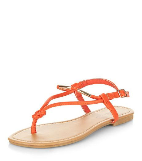 Wide Fit Orange Metal Knot Sandals  | New Look