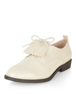 Cream Fringe Front Lace Up Shoes  | New Look