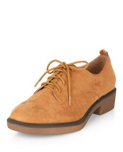 Tan Suedette Lace Up Shoes  | New Look