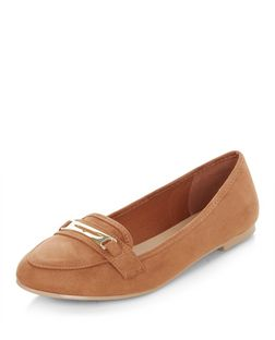 Tan Metal Trim Loafers  | New Look