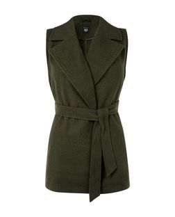 Teens Khaki Wrap Front Belted Sleeveless Jacket  | New Look