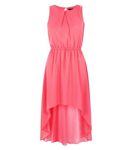 Teens Pink Chiffon Dip Hem Dress | New Look