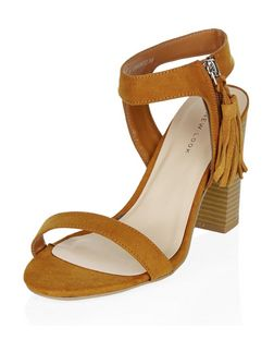 Tan Tassel Zip Side Block Heels | New Look