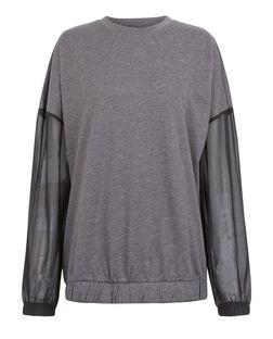 JDY Grey Sheer Sleeve Sweatshirt | New Look