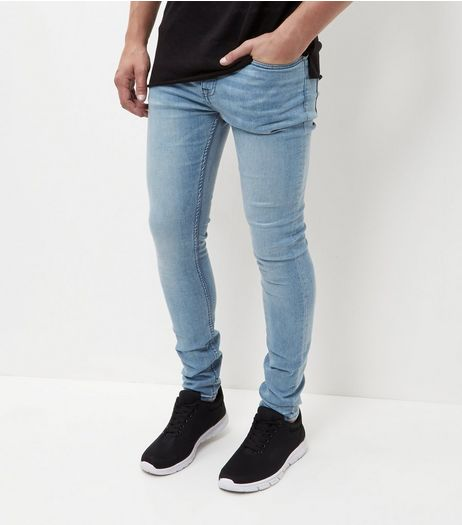 Blue Bleached Super Skinny Jeans  | New Look