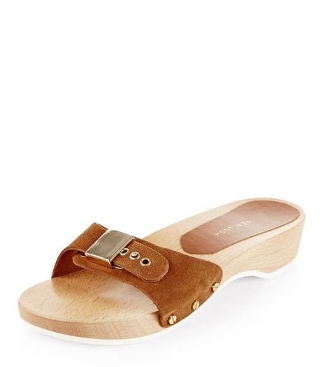 Tan Suede Buckle Clog Sliders  | New Look
