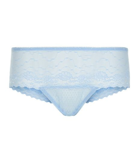 Blue Floral Lace Thong | New Look