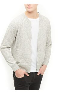 Grey Space Dye Bomber Jacket  | New Look