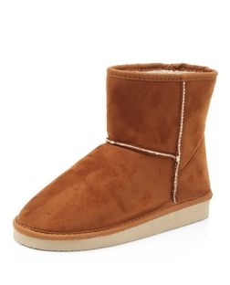 Tan Short Shearling Lined Boots  | New Look