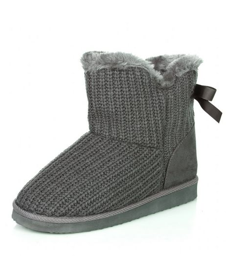 Grey Knitted Bow Back Short Boots  | New Look