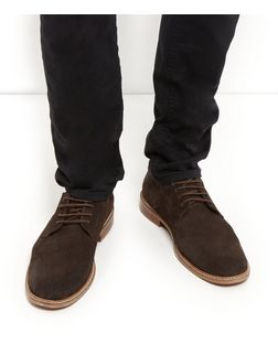 Brown Waxed Suede Derby Shoes  | New Look