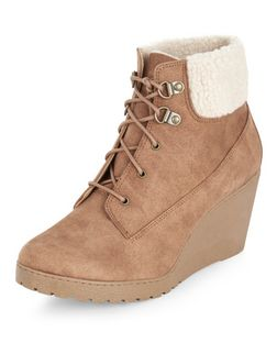 Teens Tan Shearling Trim Lace Up Wedge Boots  | New Look
