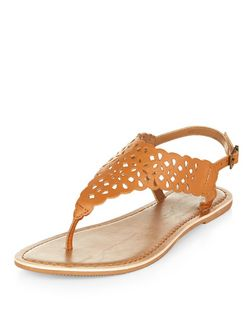 Teens Tan Leather Laser Cut Sandals  | New Look
