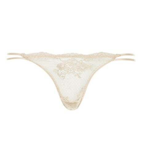 Shell Pink Floral Lace Double Strap Thong  | New Look