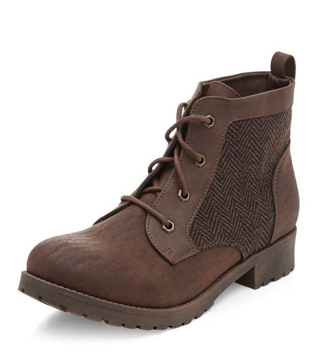 Wide Fit Tan Tweed Panel Lace Up Ankle Boots  | New Look